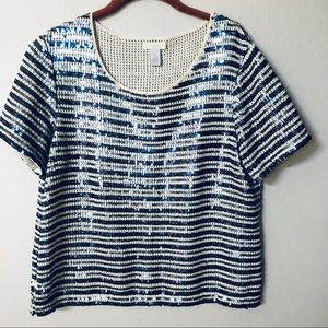 Chico's Gorgeous Sequins Top! Size 1